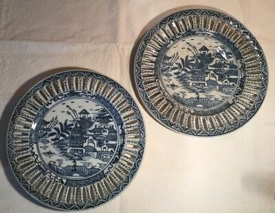 Chinese Cantonese Blue White Porcelain Reticulated Plates