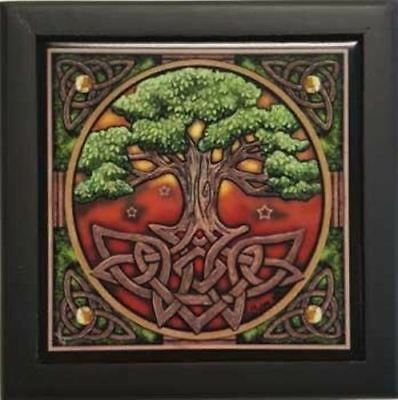 "5"" X 5"" Tree Of Life Wooden Box Velveteen Lined"
