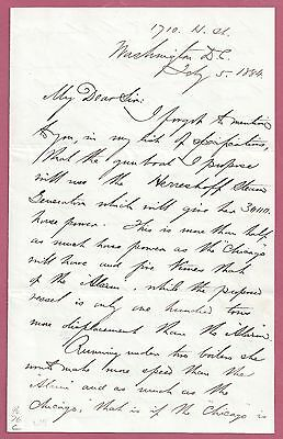 ADMIRAL Porter SIGNED Letter / Proposed GUNBOAT with Herreshoff Steam Generator