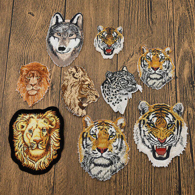 Wildlife Lion Tiger Patch Embroidered Applique Craft Leopard Wolf New DIY Sewing