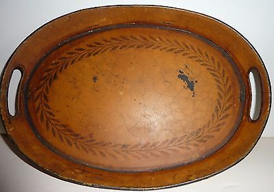Early Construction Mustard Yellow Toleware Dresser Tray -Excellent Color & Paint