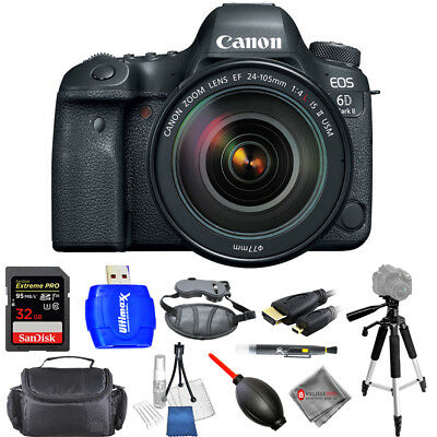 Canon EOS 6D Mark II DSLR Camera W/ 24-105mm f/4 Lens - USA Model Pro Bundle New