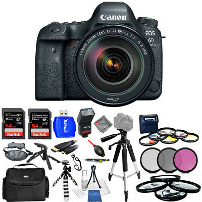 Canon EOS 6D Mark II DSLR Camera W/ 24-105mm f/4 Lens - USA Model Mega Kit New