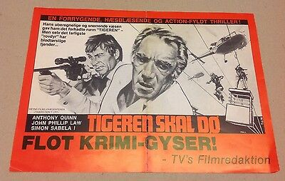 """""""Target of an Assassin"""" Anthony Quinn Law 1977 Danish Movie Press Release Kit"""