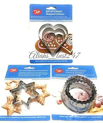 Tala Pastry Cookie Cutter  Stainless Steel Star Heart Round Crinkle Leaf Cutters