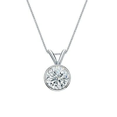 """2.50 Ct Round Cut Solid Real 14k White Gold Solitaire Bezel Pendant 18"""" Necklace"""