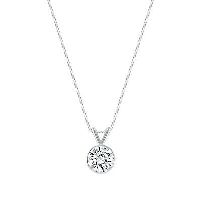 """1 Ct Round Cut Solid Real 14k White Gold Solitaire Bezel Pendant 18"""" Necklace"""