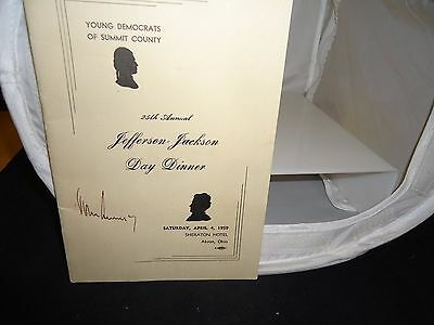 JOHN F KENNEDY JFK SIGNED 1959 25th ANNUAL JEFFERSON-JACKSON Dinner PROGRAM!