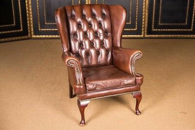 Original english Chesterfield Side wings Chair Leather Mahogany