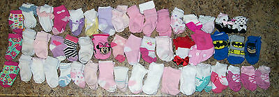 Lot of baby girl socks infant, newborn mixed sizes 0- 6,   50 pair  Huge
