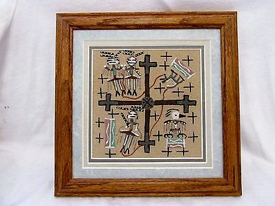 """Authentic Native American Navajo Sand Painting """"Creation Story"""" By Foster"""