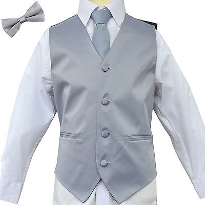 New Kid's Brand Boys Tuxedo Vest Zipper Neck Tie & Bowtie 3 in 1 Set SILVER GRAY