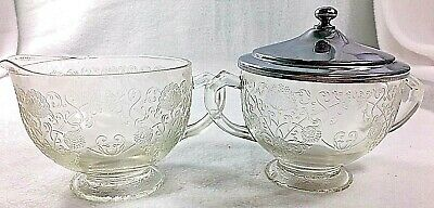 Florentine No 1 Depression Glass Crystal Cream and Sugar with Metal Lid