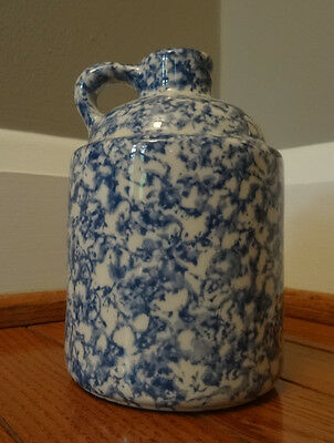 Vintage Stoneware Jug Blue Spongeware Decoration