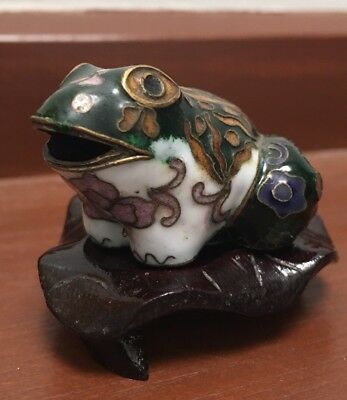 Cloisonné Frog On Stand