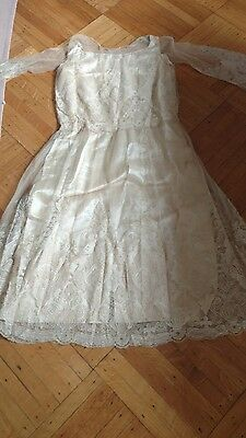 SHABBY antique VTG OLD TAMBOUR NET LACE  wedding dress BEADED VICTORIAN