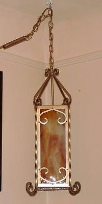 Vtg Medieval Gothic Chandelier Stain Glass Panel Hanging Light Fixture Cast Iron