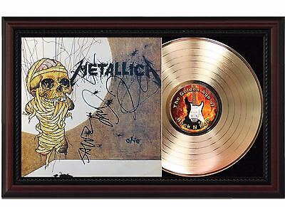 Metallica One - 24k Gold LP Record w Reproduced Autographs In Cherry Wood Frame