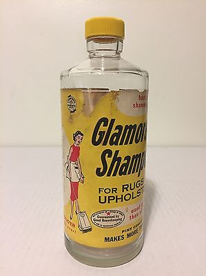Vtg 1950s Glamorene Rug Carpet Shampoo Glass Bottle Advertising Happy Housewife