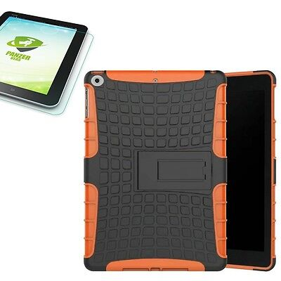 Hybrid Outdoor Case Orange for Apple Ipad 9.7 2017 Cover+H9 Tempered Glass Case