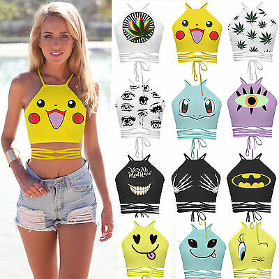 US Women Sleeveless Crop Top Shirts Holiday Vest Halter Tank Blouse T-Shirt Cami