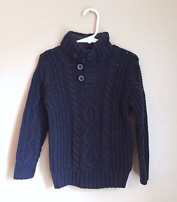 Baby GAP Sherpa Button Mock Navy Blue Cable Knit Sweater Boys 3T 3 NWT