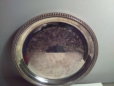 Vintage Wm Rogers 12-1/4 Inch Silver Plate Round Serving Tray #4571