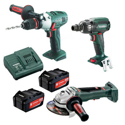 Metabo 18V 3 Piece Brushless Hammer Drill/Impact Wrench/Angle Grinder Combo AU68