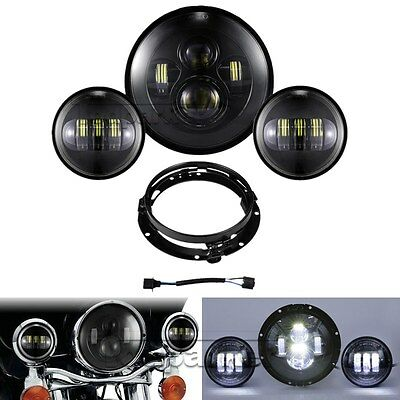 "7"" LED Hi-Lo TP Headlight +Passing Lights For Harley Electra Glide Ultra Classic"