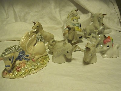 Lefton Hand-Painted Unicorn Horse/unicorn Salt Shakers Lot Of 9 Unicorn Figurine
