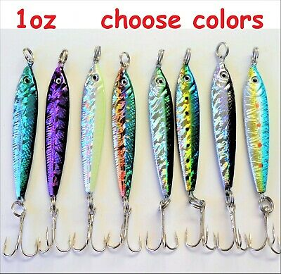 6 Pieces 1oz Mega Live Bait Metal Jigs Fishing Lures