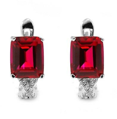 JewelryPalace Women's 6ct Created Red Ruby Clip On Earrings 925 Sterling Silver