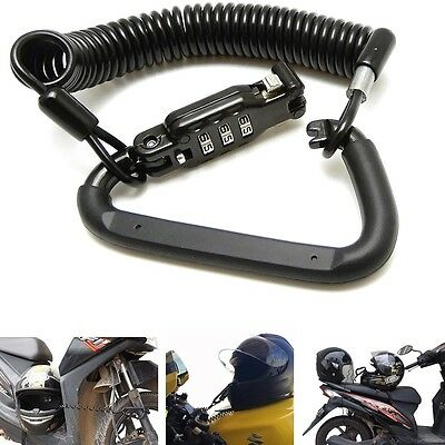Lightweight Black Combination Motorbike Motorcycle Helmet Lock with T-Bar Rubber