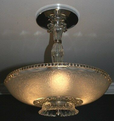 Antique frosted glass semi flush art deco light fixture ceiling chandelier 1940s