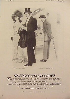 1912 James Montgomery Flagg Adler Rochester Clothes Man & Lady Print Ad