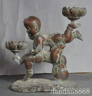 """8"""" old chinese fengshui bronze boy lad child lotus Candlestick Candle holders"""