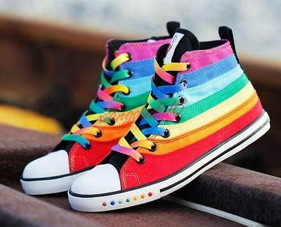 192dd56c523c Womens Girls Multi Color Rainbow High Top Sneakers Boots Canvas ankle boots