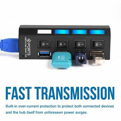 4Port USB 3.0 HUB HIGH SPEED 5GBPS WITH  ON/OFF SWITCH BLACK FOR PC LAPTOP -RC