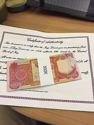500,000 NEW IRAQI DINAR UNCIRCULATED SERIAL NUMBERED 20 x 25,000 PRIORITY MAIL