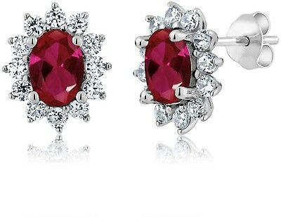 2.60 Ct 7X5MM Oval Red Created Ruby 925 Sterling Silver Women's Earrings
