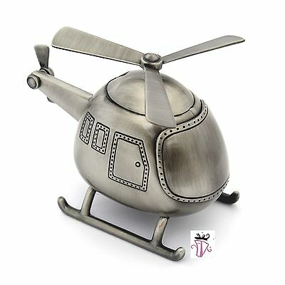 Boy Quality Pewter Helicopter Money Box Bank Baby Shower Gift Idea Christening