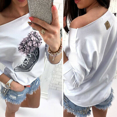 Long Sleeve Loose Casual T-shirt Tops Off Shoulder Floral Blouse Fashion Womens