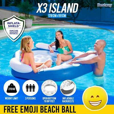 Inflatable Pool Lounge Island 3 Person | Bestway X3 Island Lounger Seat