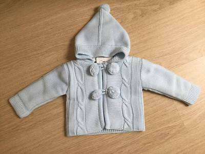 Baby Spanish Style Hooded Pom Pom Pram Coat/Cardigan Blue