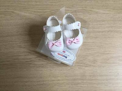 Traditional Spanish Style Baby Bow Pram Shoes Patent White By Baypods