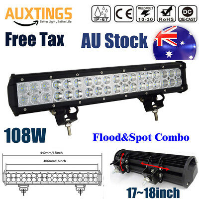 18INCH 108W  LED WORK LIGHT BAR FLOOD/SPOT COMBO FOG OFFROAD TRUCK for JEEP SUV