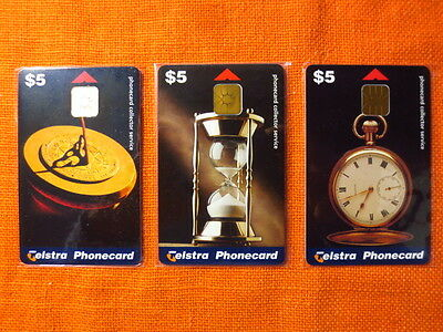 3x Telstra Phonecards, TIME PIECES SET Limited Edition, Aug 1998, New Unused
