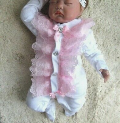 Romany Bling Unique Baby' Pink Bow Frill Diamante Crystal Sleepsuit Babygrow