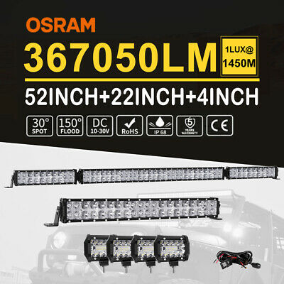 52inch 4200W Curved Cree LED Light Bar Spot Flood Offroad Driving Lamp QUAD ROWS