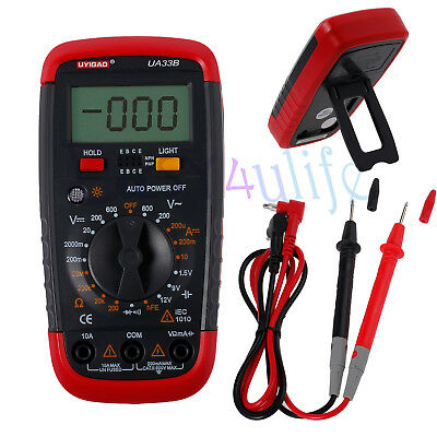 Digital UA33B LCD Auto Multimeter Ammeter AC DC Voltage OHM Tester Voltmeter New